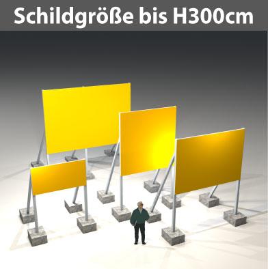 Bauschilder Schildgröße Format bis H300cm, Ges. H500 cm