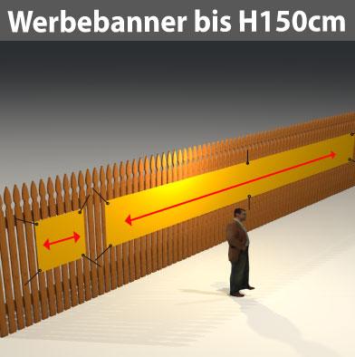 Werbeplane Formate bis H150 cm