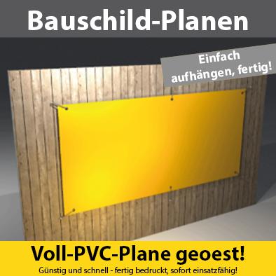Werbebanner PVC-Plane sofort einsatzbereit - stabil, reissfest, bis 4c farbig beschriftet.