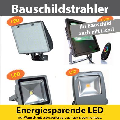 Zubehör - Strahler - Energiesparende LEDs für den Außenbereich. Auf Wunsch steckfertig für die Eigenmontage.